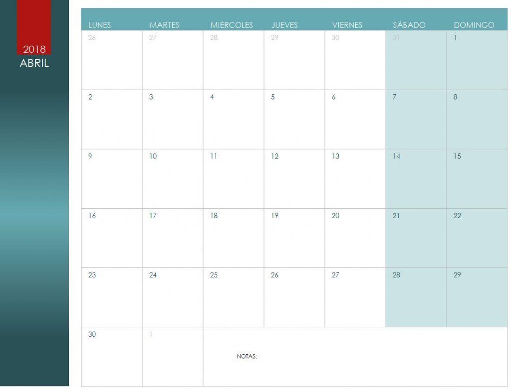 Calendario de Abril de 2018