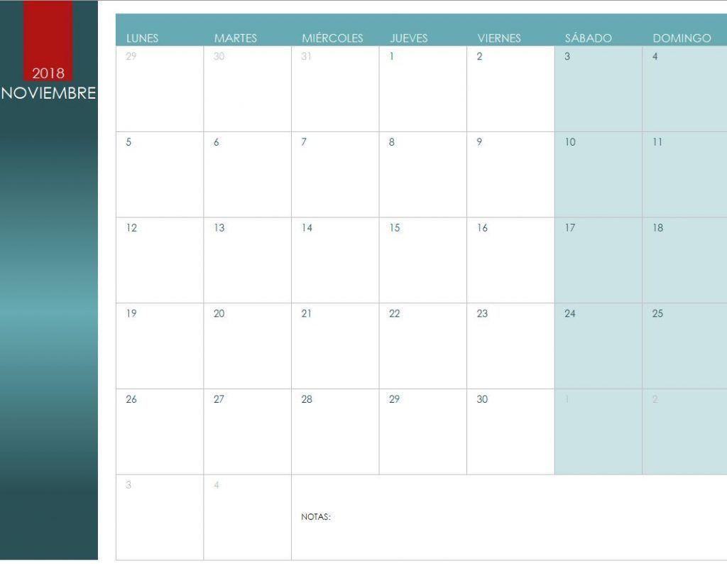 Calendario de Noviembre de 2018