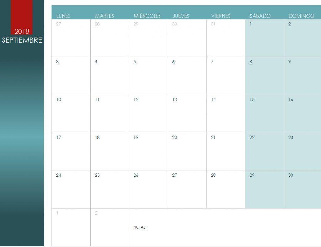 Calendario de Septiembre de 2018