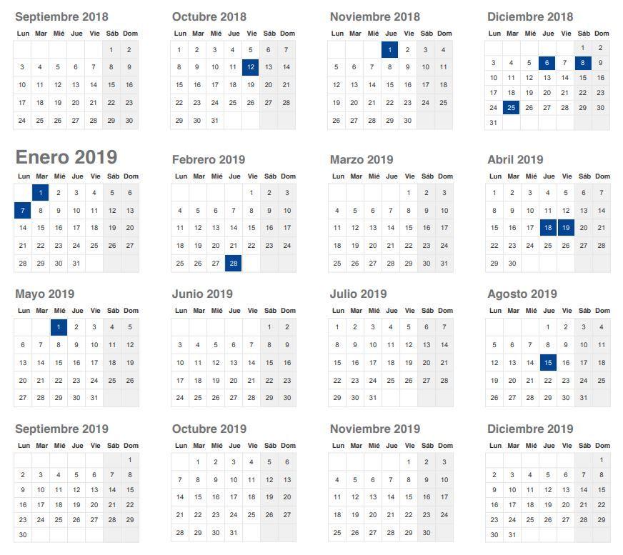 Calendario Días Festivos Andalucia 2019